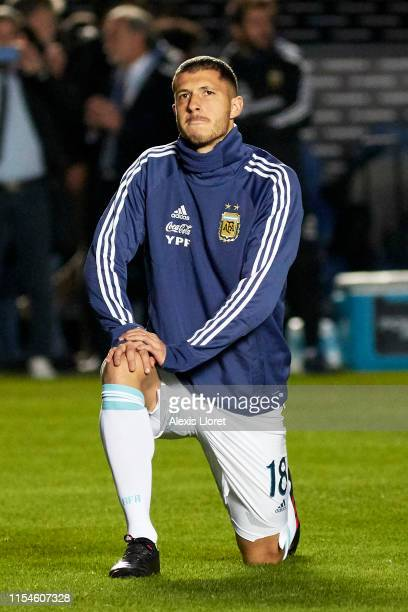 Guido Rodriguez of Argentina warms up before a friendly match between Argentina and Nicaragua at Estadio San Juan del Bicentenario on May 7 2019 in...