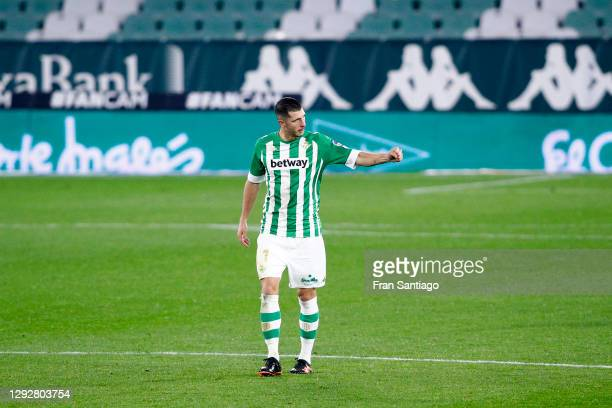 Guido Rodriguez of Real Betis celebrates after scoring their sides first goal during the La Liga Santander match between Real Betis and Cadiz CF at...