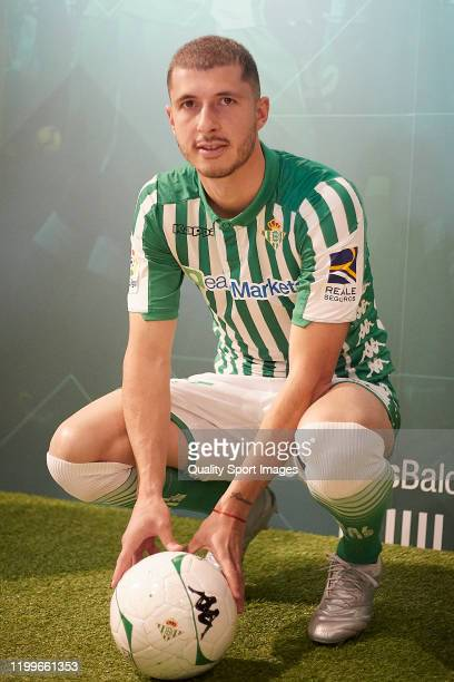 Guido Rodriguez poses during his presentation as new player for Real Betis at Estadio Benito Villamarin on January 15 2020 in Seville Spain