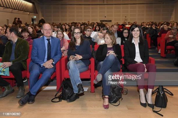 Guido Saracco Antonietta Di Martino and Chiara Appendino attend Politecnico di Torino Orientati al Futuro Salone dell'Orientamento on April 8 2019 in...