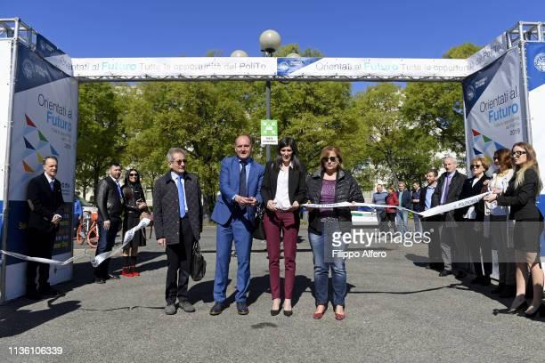 Guido Saracco Chiara Appendino and Antonietta Di Martino attend Politecnico di Torino Orientati al Futuro Salone dell'Orientamento on April 8 2019 in...