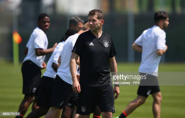 Guido Streichsbier the coach of Germany looks on during a training session at the Daejeon World Cup Stadium complex ahead of the FIFA U20 World Cup...