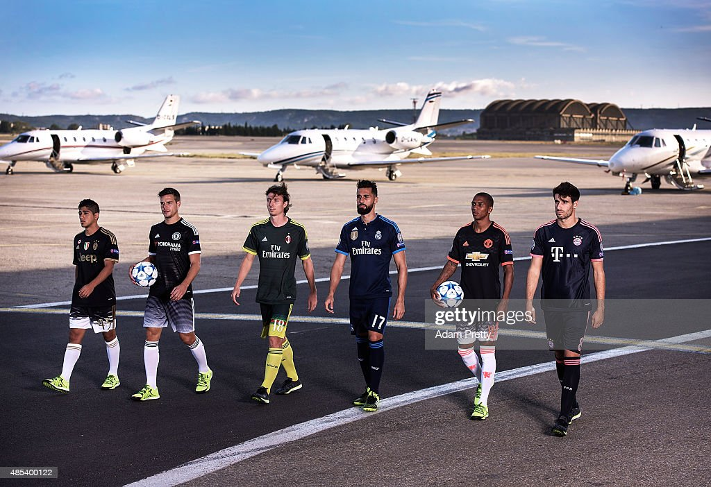 Guido Vadala of Juventus, Cesar Azpilicueta of Chelsea FC, Riccardo Montolivo of AC Milan Alvaro, Arbeloa of Real Madrid, Ashley Young of Manchester United and Javi Martinez of Bayern Munich arrive at Marseille Airport wearing their new 'spark in the night' third kits for the adidas #BETHEDIFFERENCE Final on August 27, 2015 in Marseille, France.