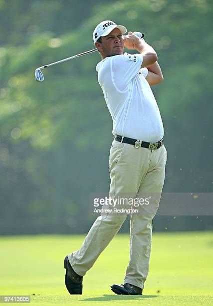 Guido Van Der Valk of The Netherlands plays his second shot on the first hole during the first round of the Maybank Malaysian Open at the Kuala...