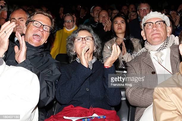 Guido Westerwelle Nicoletta Peyran and her husband John Malkovich attend the 'Seefestspiele' Open With Carmen in the Wannseebad on August 16 2012 in...