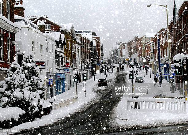 Guildford High street in the snow