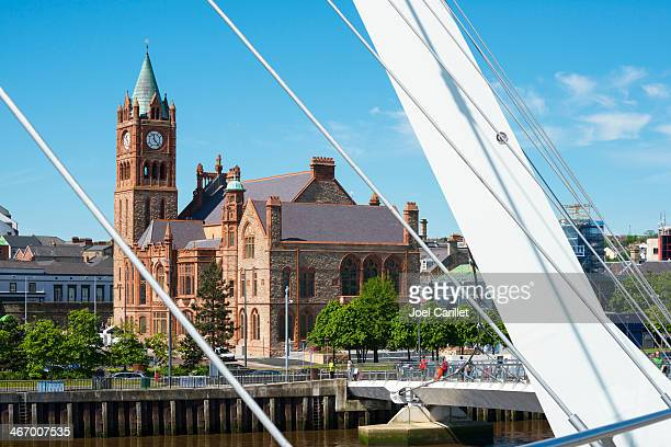 guildhall and peace bridge in derry - town hall stock photos and pictures