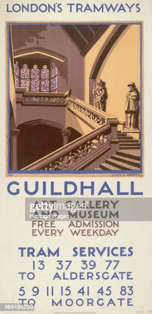 'Guildhall Art Gallery and Museum' London County Council Tramways poster 1927 Showing a staircase statues and a stainedglass window