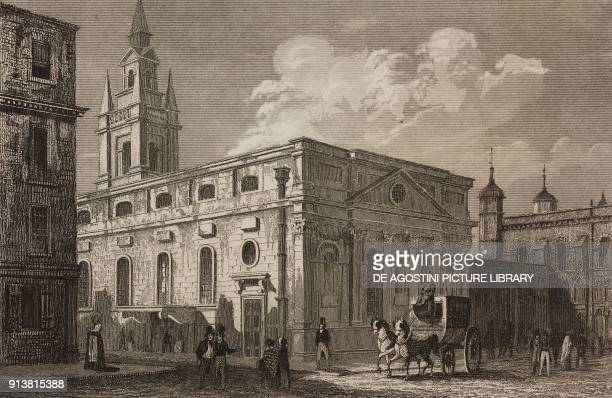 Guildhall London England United Kingdom engraving by Lemaitre from Angleterre Ecosse et Irlande Volume IV by Leon Galibert and Clement Pelle...