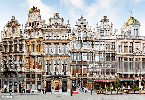 guildhalls at grand place - brussels capital region stock pictures, royalty-free photos & images