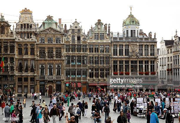 Guildhalls on the Grand Place in Brussels the capital and largest city of Belgium and the capital of the European Union on August 08 2011 in Brussels...