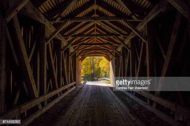 guilford covered bridge interior - covered bridge stock photos and pictures