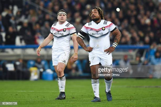 Guilhem Guirado and Mathieu Bastareaud of France during the NatWest Six Nations match between France and Italy at Stade Velodrome on February 23 2018...