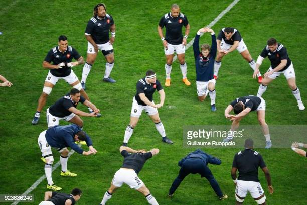 Guilhem Guirado and teammates of France warm up before the NatWest Six Nations match between France and Italy at Stade Velodrome on February 23 2018...