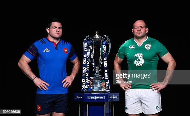 Guilhem Guirado captain of France and Rory Best captain of Ireland pose with the trophy during the RBS Six Nations launch at The Hurlingham Club on...