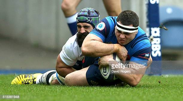 Guilhem Guirado of France dives over for the first try during the RBS Six Nations match between Scotland and France at Murrayfield Stadium on March...