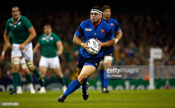Guilhem Guirado of France in action during the 2015 Rugby World Cup Pool D match between France and Ireland at Millennium Stadium on October 11 2015...