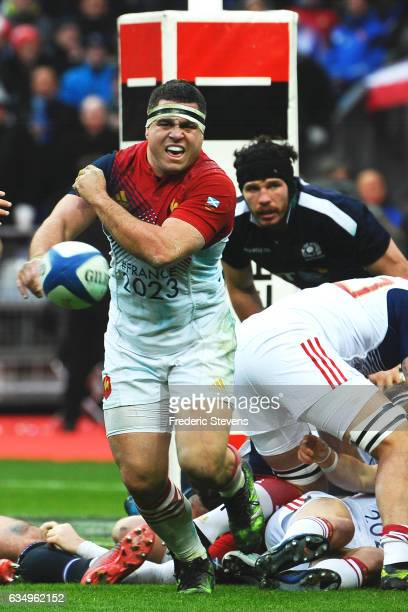 Guilhem Guirado of France passes the ball during the RBS Six Nations match between France and Scotland at Stade de France on February 12 2017 in...