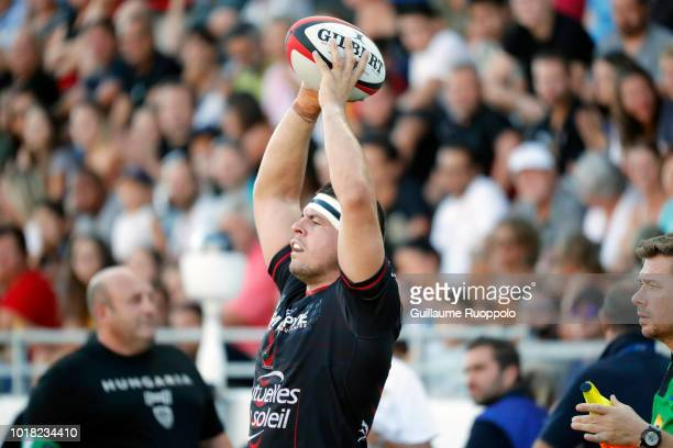 Baptiste Couilloud of Lyon during the test match between RC Toulon and Lyon at Felix Mayol Stadium on August 17 2018 in Toulon France