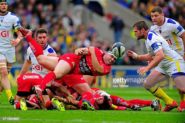 Guilhem Guirado of Toulon passes the ball out from a ruck during the European Rugby Champions Cup Final match between ASM Clermont Auvergne and RC...