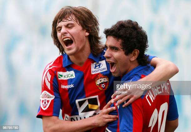 Guilherme and Georgi Shchennikov of PFC CSKA Moscow celebrate after scoring a goal during the Russian Football League Championship match between PFC...