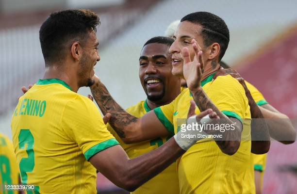 Guilherme Arana celebrates after scoring a goal with Gabriel Menino of Brazil during the International football friendly match between Serbia U21 and...