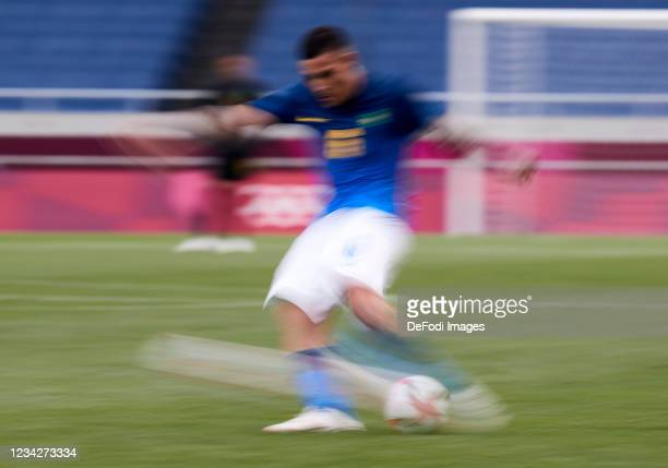 Guilherme Arana of Brazil controls the ball during the Men's Group D match between Saudi Arabia and Brazil on day five of the Tokyo 2020 Olympic...