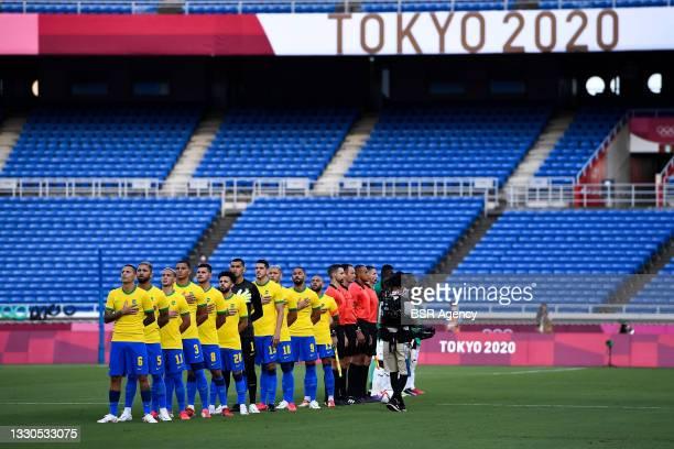 Guilherme Arana of Brazil, Douglas Luiz of Brazil, Antony of Brazil, Diego Carlos of Brazil, Bruno Guimaraes of Brazil, Santos of Brazil, Nino of...