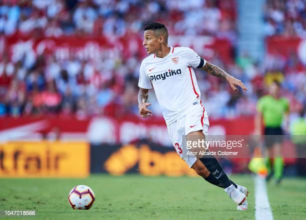 Guilherme Arana of Sevilla FC in action during the La Liga match between Sevilla FC and RC Celta de Vigo at Estadio Ramon Sanchez Pizjuan on October...