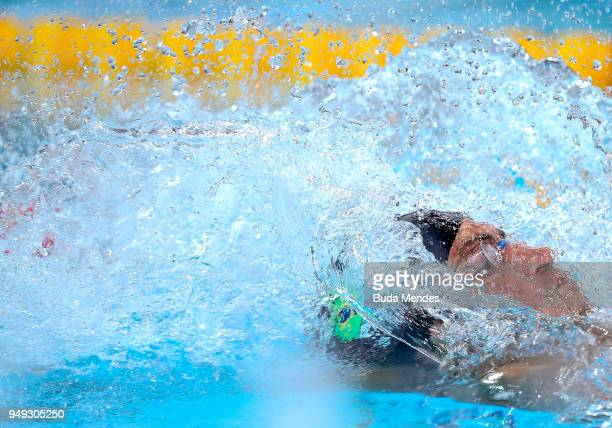 Guilherme Augusto Guido of Brazil competes in the Men's 100m backstroke final during the Maria Lenk Swimming Trophy 2018 Day 4 at Maria Lenk Aquatics...