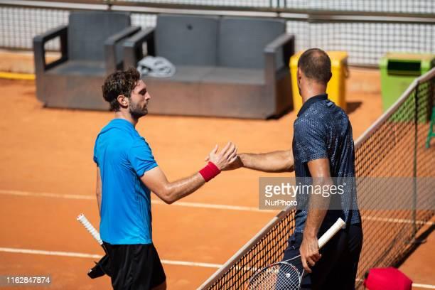 Guilherme Clezar and Ante Pavic during the match between Guilherme Clezar and Ante Pavic at the Internazionali di Tennis Citt dell'Aquila in...