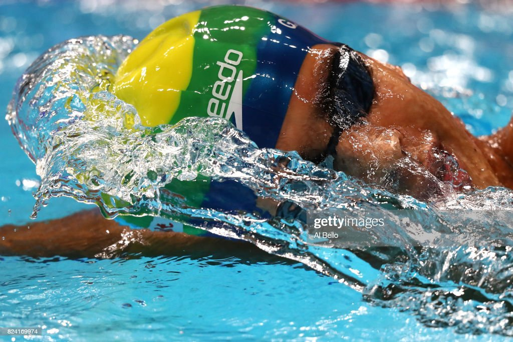Guilherme Costa of Brazil competes during the Men's 1500m Freestyle heats on day sixteen of the Budapest 2017 FINA World Championships on July 29, 2017 in Budapest, Hungary.