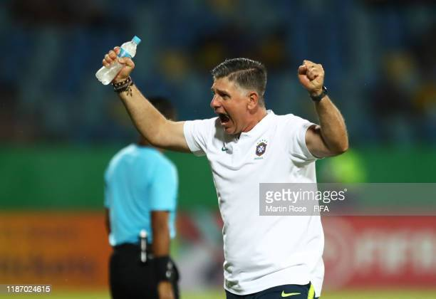 Guilherme Dalla Dea, Coach of Brazil celebrates at the final whistle during the FIFA U-17 World Cup Quarter Final match between Italy and Brazil at...