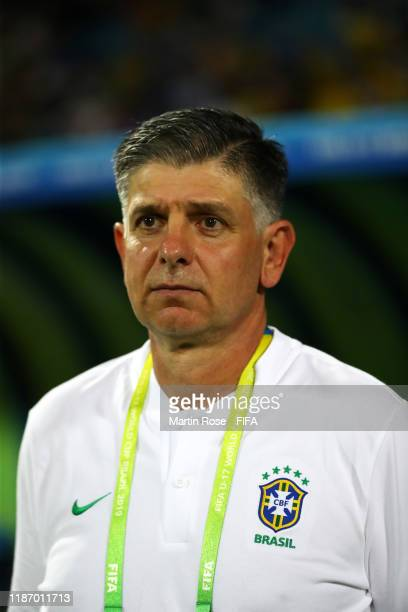 Guilherme Dalla Dea, Coach of Brazil looks on during the FIFA U-17 World Cup Quarter Final match between Italy and Brazil at the Estádio Olímpico...