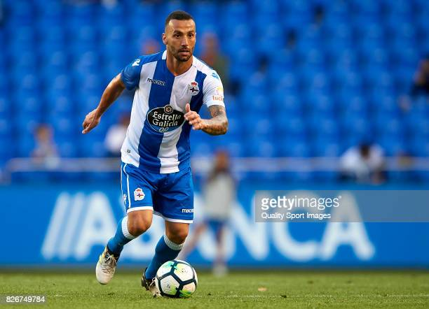 Guilherme dos Santos of Deportivo de La Coruna runs with the ball during the Pre Season Friendly match between Deportivo de La Corua and West...