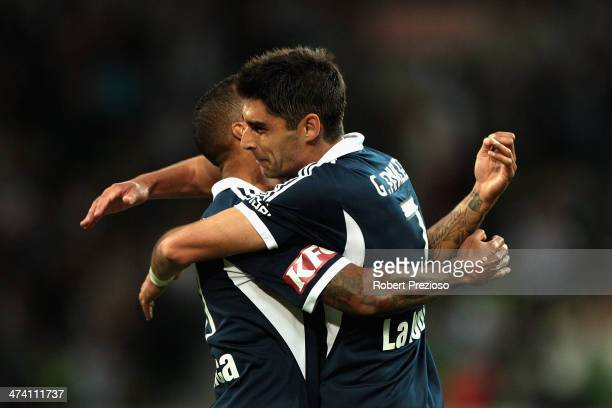 Guilherme Finkler of Victory celebrates scoring a goal during the round 20 ALeague match between Melbourne Victory and Adelaide United at AAMI Park...