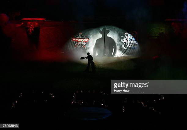 Guilherme Marchi of Brazil is introduced during the final of the PBR Amp'd Mobile Invitational in the 2007 Professional Bull Riders Built Ford Tough...