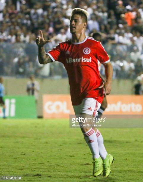Guilherme Nunes of Internacional celebrates after scoring the first goal of his team during the match against Corinthians during the Semi-Final 1...