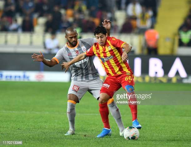 Guilherme of BtcTurk Yeni Malatyaspor in action against Marcao of Galatasaray during the Turkish Super Lig soccer match between BtcTurk Yeni...
