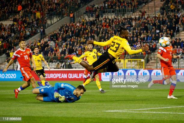Guilherme of Russia Michy Batshuayi of Belgium during the EURO Qualifier match between Belgium v Russia at the Koning Boudewijn Stadium on March 21...