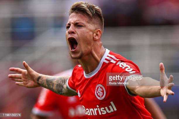 Guilherme Pato of Internacional celebrates a scored goal during a match between Internacional and Gremio as part of Copa Sao Paulo de Futebol Junior...