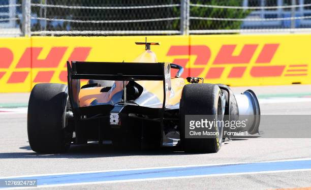 Guilherme Samaia of Brazil and Campos Racing drives after a crash during the Formula 2 Championship Sprint Race at Sochi Autodrom on September 27,...