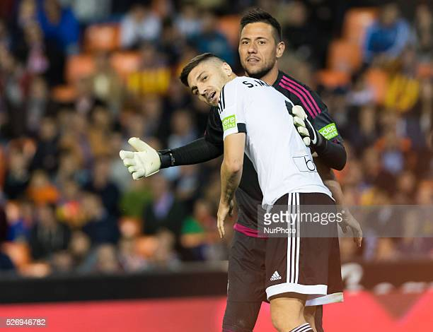 Guilherme Siqueira and Diego Alves of Valencia during the Spanish League Match match at Estadio Mestalla Valencia on 1May of 2016