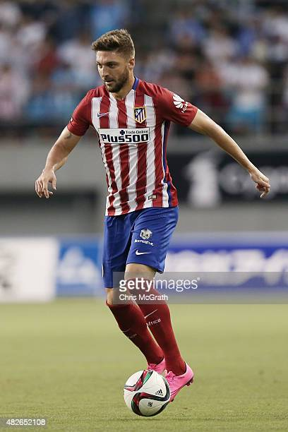 Guilherme Siqueira of Atletico Madrid looks to pass against Sagan Tosu FC during the friendly match between Atletico Madrid and Sagan Tosu FC at Tosu...