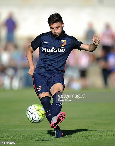 Guilherme Siqueira of Club Atletico de Madrid in action during the Jesus Gil y Gil Memorial preseason friendly match between Numancia and Club...