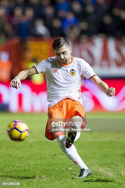 Guilherme Siqueira of Valencia CF controls the ball during the La Liga match between CA Osasuna and Valencia CF at Estadio Reyno de Navarra on...