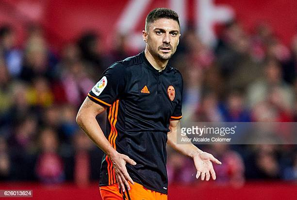 Guilherme Siqueira of Valencia CF reacts during the La Liga match between Sevilla FC and Valencia CF at Estadio Ramon Sanchez Pizjuan on November 26...