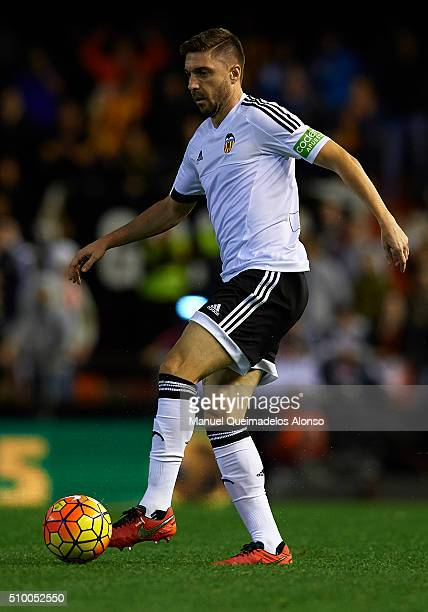 Guilherme Siqueira of Valencia in action during the La Liga match between Valencia CF and RCD Espanyol at Estadi de Mestalla on February 13 2016 in...