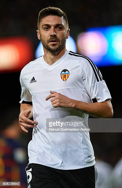 Guilherme Siqueira of Valencia looks on during the Copa del Rey Semi Final first leg match between FC Barcelona and Valencia CF at Nou Camp on...