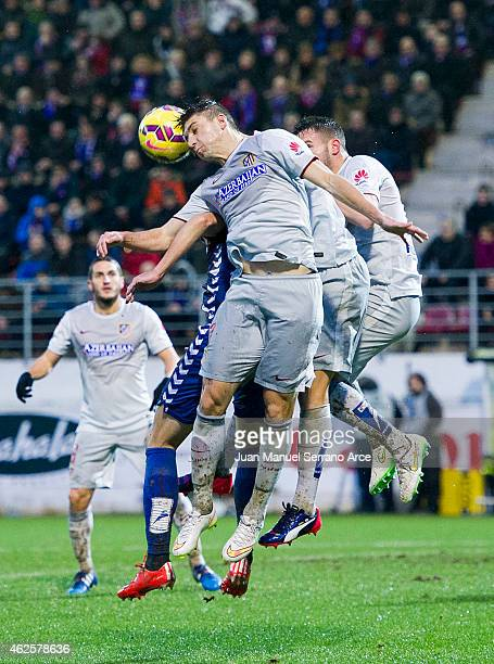 Guilherme SiqueiraÊof Atletico de Madrid duels for the ball with Manu del Moral of SD Eibar during the La Liga match between SD Eibar andÊAtletico de...